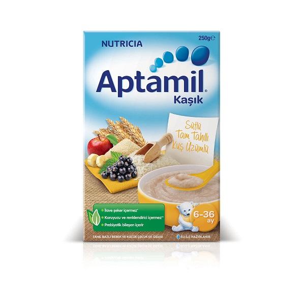 سرلاک سیب و موز و انگور سیاه با برنج و شیر آپتامیل Aptamil