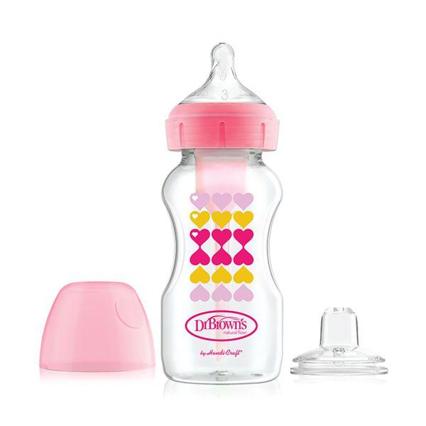 شیشه شیر طلقی 2منظوره 270 میل آپشن پلاسDrbrowns قلب صورتی