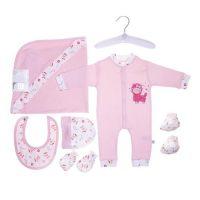 ست لباس بیمارستانی نوزادی 7 تکه طرح گوسفند صورتی مادرکر Mothercare